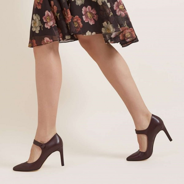 Dark Maroon Pointy Toe Mary Jane Pumps Vintage Style Office Shoes image 3