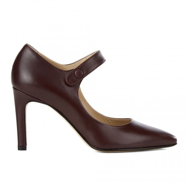 Dark Maroon Pointy Toe Mary Jane Pumps Vintage Style Office Shoes image 2