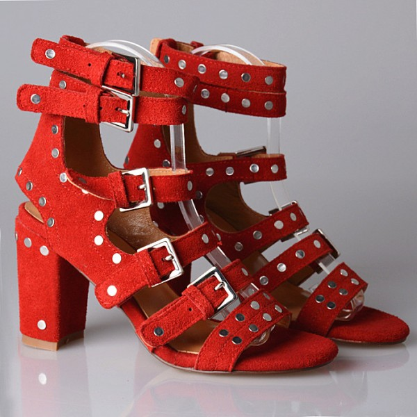 Dark Orange Studs Shoes Suede Block Heel Sandals with Buckles image 3