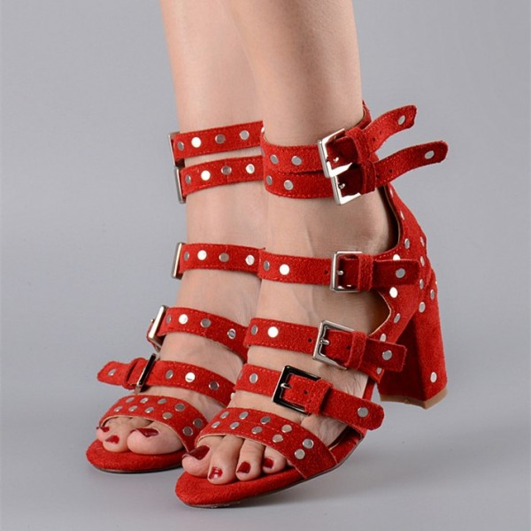 Dark Orange Studs Shoes Suede Block Heel Sandals with Buckles image 4