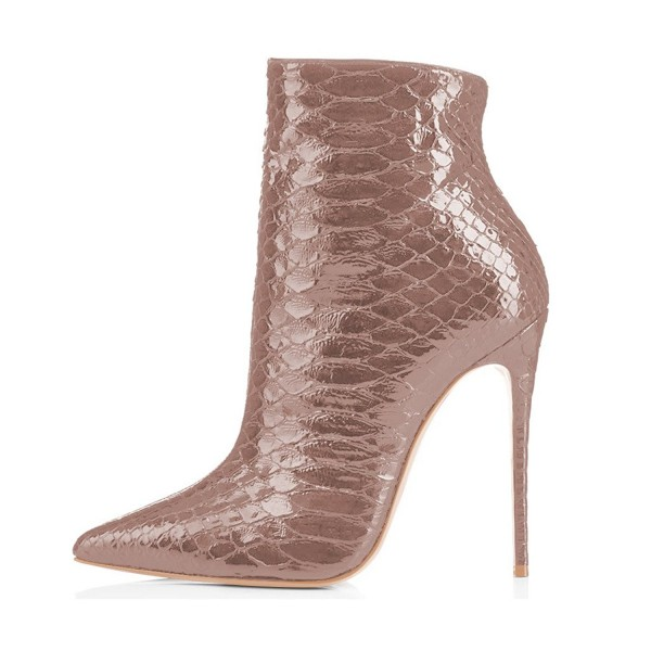 Blush Ankle Booties Pointy Toe Python Stiletto Boots for Women image 4