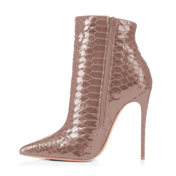 Blush Ankle Booties Pointy Toe Python Stiletto Boots for Women image 2