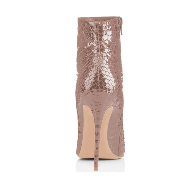 Blush Ankle Booties Pointy Toe Python Stiletto Boots for Women image 3