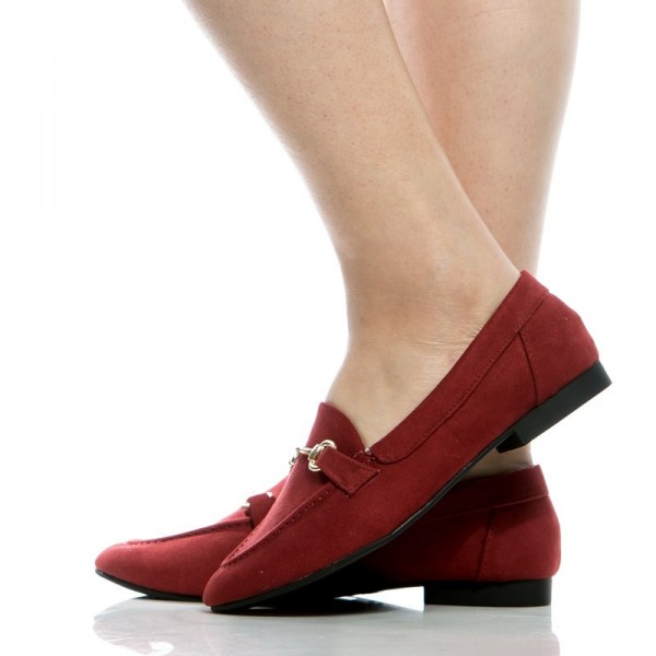Dark Red Round Toe Flats Suede Loafers for Women
