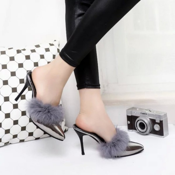 Grey Metallic Fur Heels Pointy Toe Stiletto Heel Mules US Size 3-15 image 2