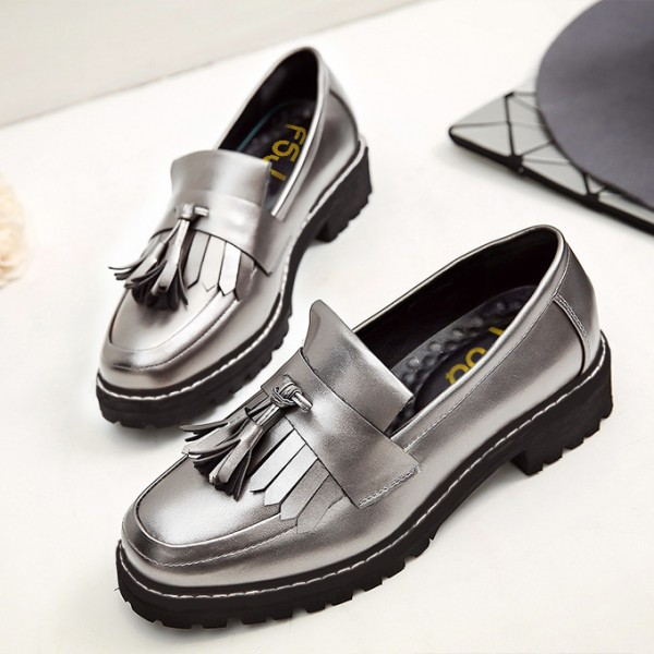 Dark Silver Square Toe Fringe and Tassel Loafers for Women image 1