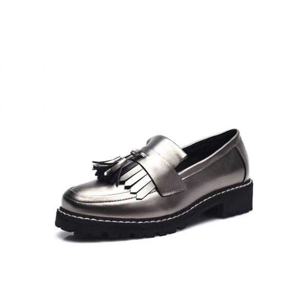 Dark Silver Square Toe Fringe and Tassel Loafers for Women image 2