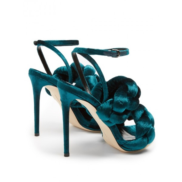 Teal Shoes Ankle Strap Stiletto Heel Velvet Sandals for Prom image 3