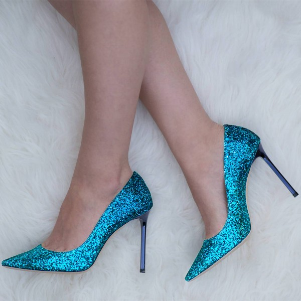 Deep Blue Stiletto Heels Glitter Low-Cut Upper Pointy Toe Pumps image 1
