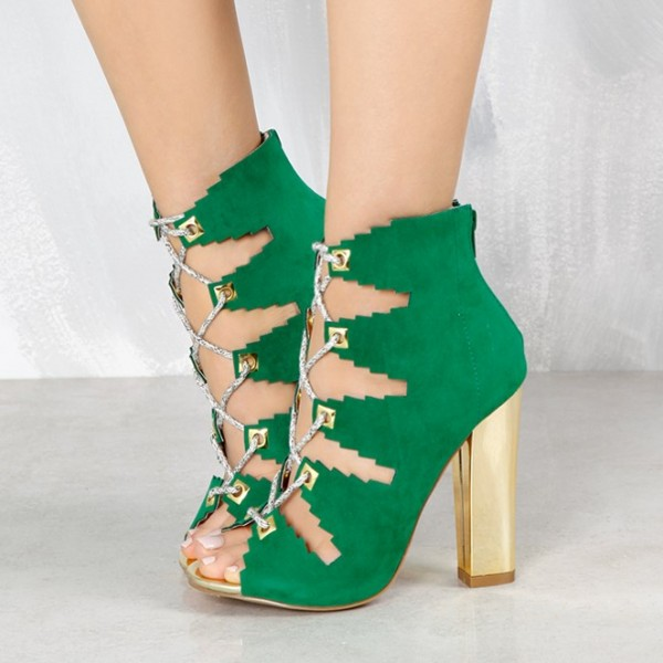 Deep Green Lace Up Summer Boots Suede Peep Toe Chunky Heels Sandals image 1
