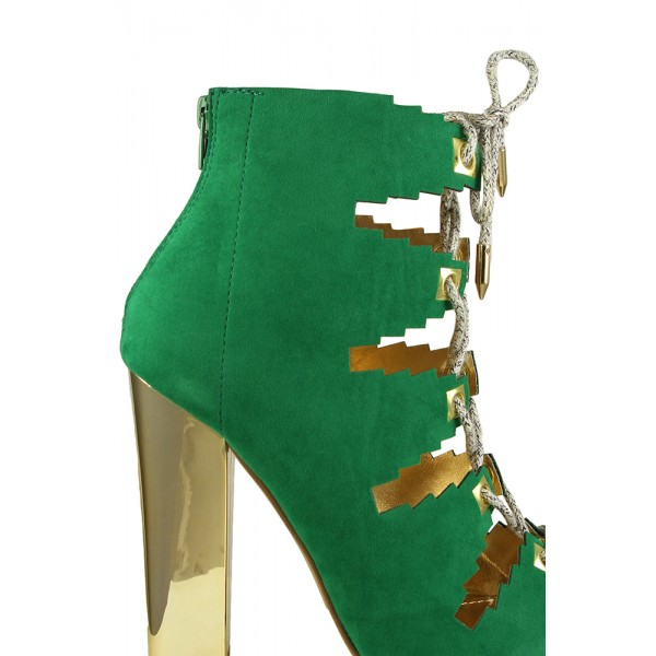 Deep Green Lace Up Summer Boots Suede Peep Toe Chunky Heels Sandals image 2
