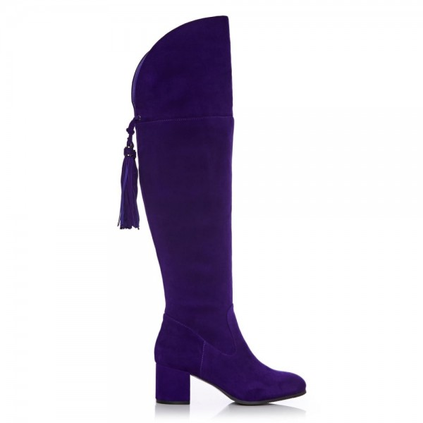 Deep Purple Long Boots Chunky Heels Suede Tassels Over-the-knee Boots image 3