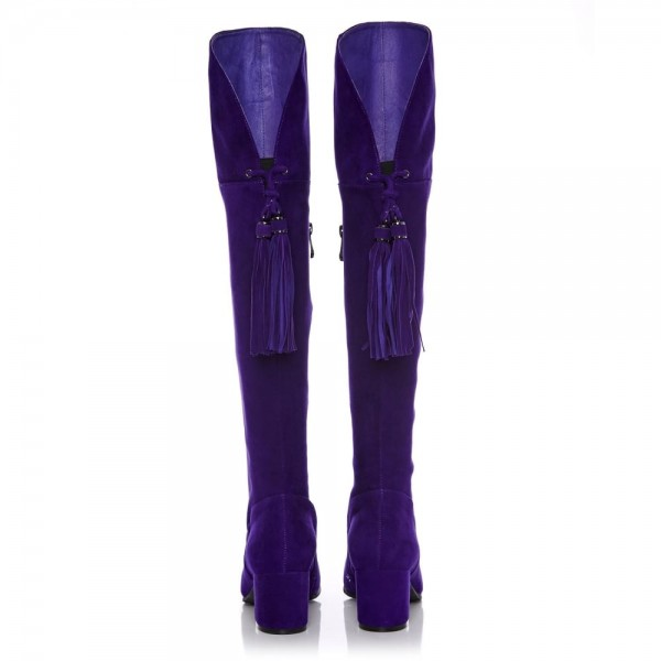 Deep Purple Long Boots Chunky Heels Suede Tassels Over-the-knee Boots image 4