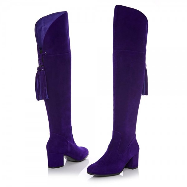 Deep Purple Long Boots Chunky Heels Suede Tassels Over-the-knee Boots image 5