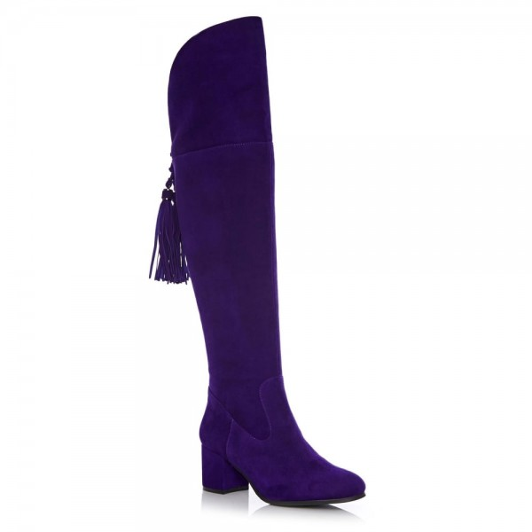 Deep Purple Long Boots Chunky Heels Suede Tassels Over-the-knee Boots image 6