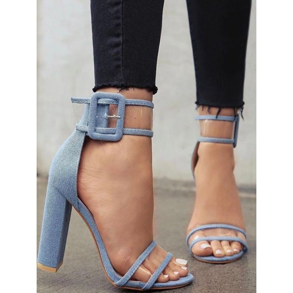 Denim Block Heels Clear Sandals Open Toe Ankle Strap Sandals image 1