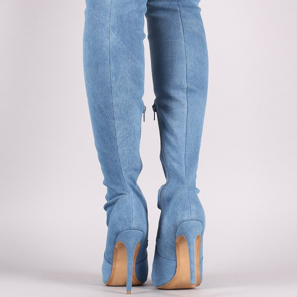 Women's Jeans Denim Boots Stiletto Heel Over-The- Knee Boots image 4