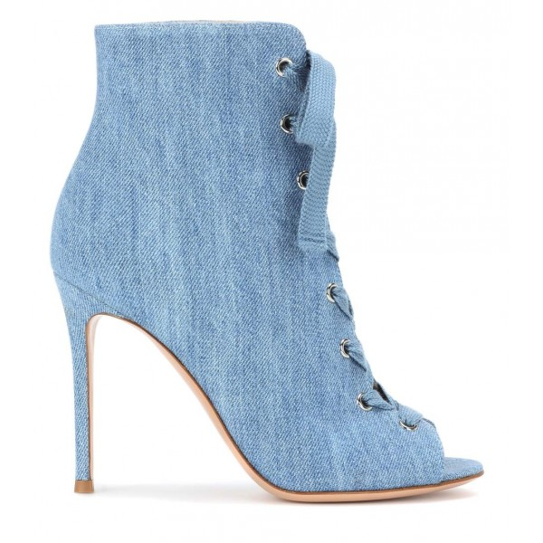 Denim Boots Peep Toe Lace up Stiletto Heel Ankle Booties for Women image 3