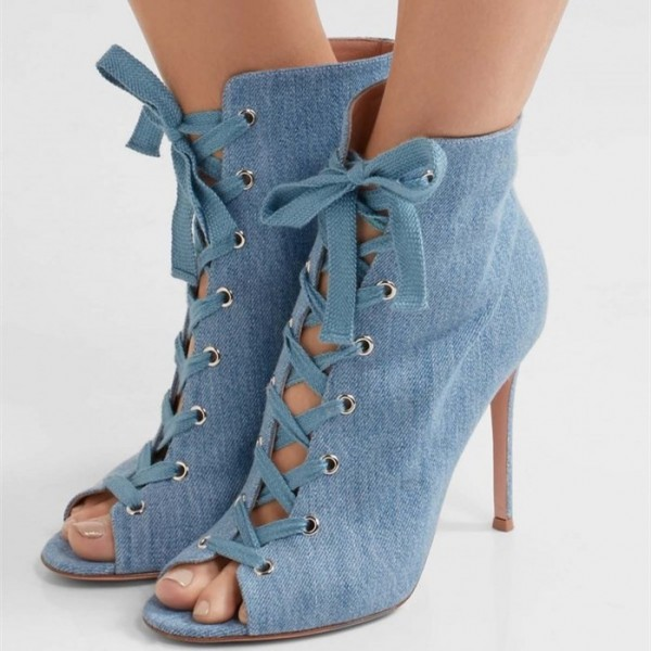 Denim Boots Peep Toe Lace up Stiletto Heel Ankle Booties for Women image 2