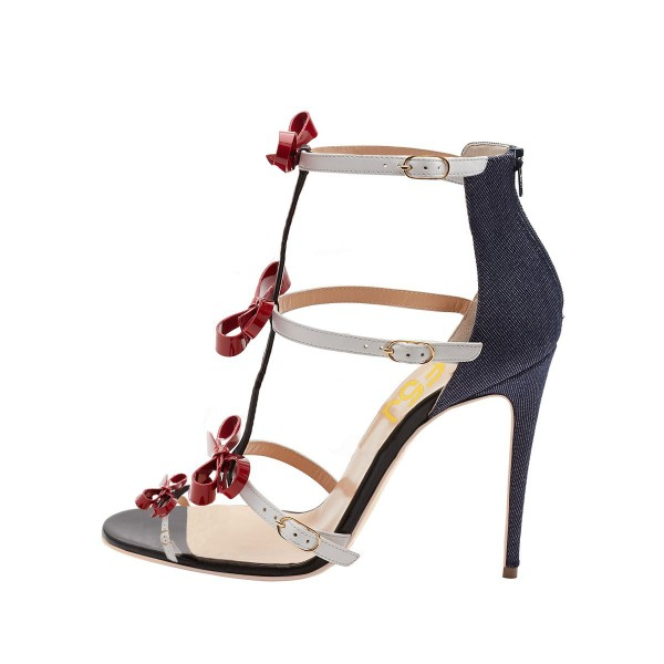Women's Black and Red Bow Open Toe T-Strap Sandals image 3