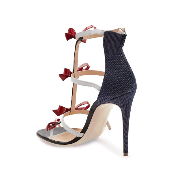 Women's Black and Red Bow Open Toe T-Strap Sandals image 2