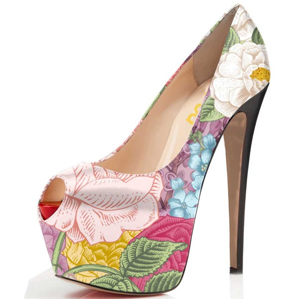 Floral-print Platform Heels 5 Inches Stilettos Shoes US Size 4-15 image 1