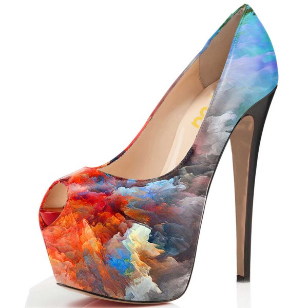 Peep Toe Heels Auspicious Clouds Platform Pumps High Heel Shoes image 1