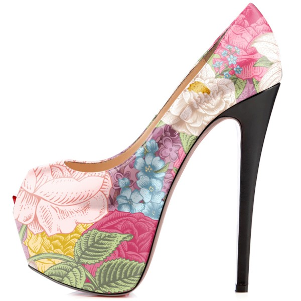 Floral-print Platform Heels 5 Inches Stilettos Shoes US Size 4-15 image 3