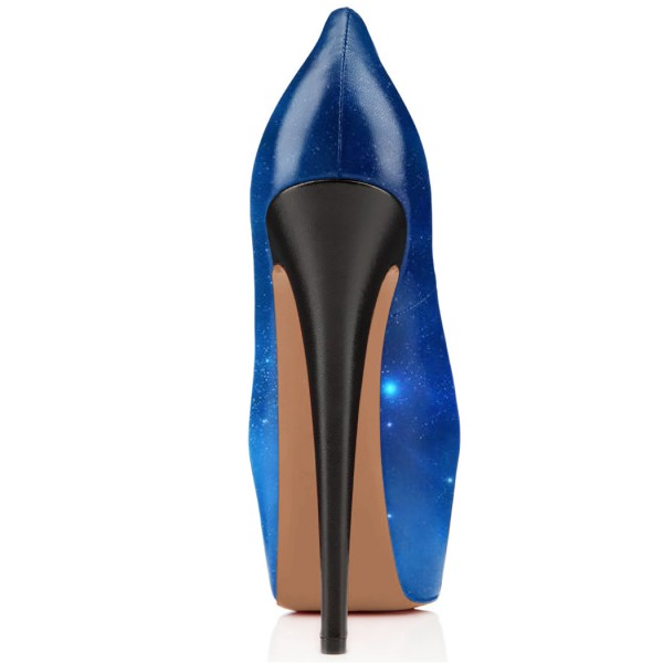 FSJ Blue Galaxy Platform Heels Peep Toe Stiletto Heel Pumps Size 3-15 image 4