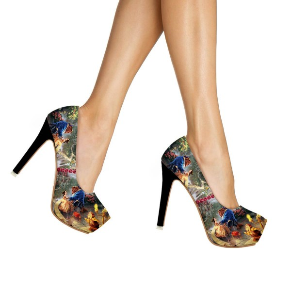 Beauty and the Beast Floral Heels Halloween Shoes Platform High Heels image 3