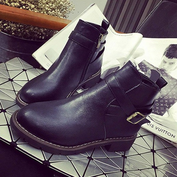 Black Vintage Boots Round Toe Wear-resistant Ankle Boots image 1
