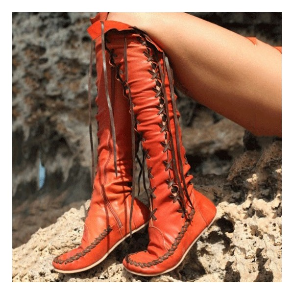 Women's Orange Lace-up Strappy Flats Vintage Boots image 1