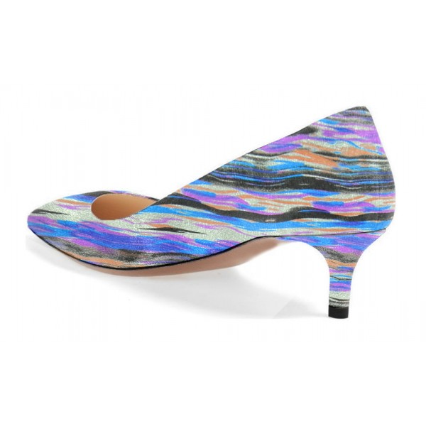 Women's Blue Stripes Low-cut Kitten Heels Pumps image 2