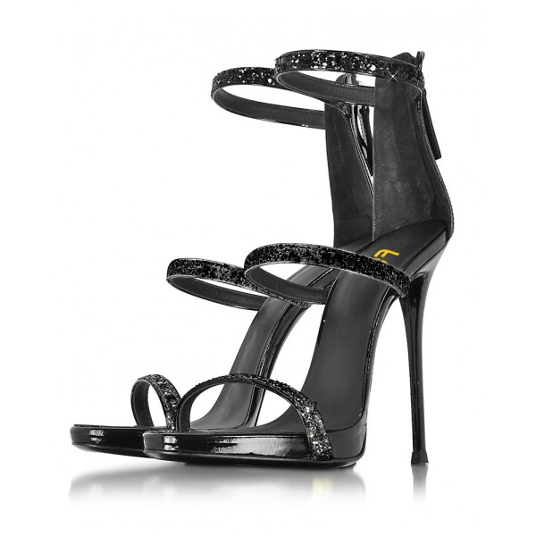 Women's Black Glitter Dress Shoes Stiletto Heels Ankle Strap Sandal for Cocktail Party image 1