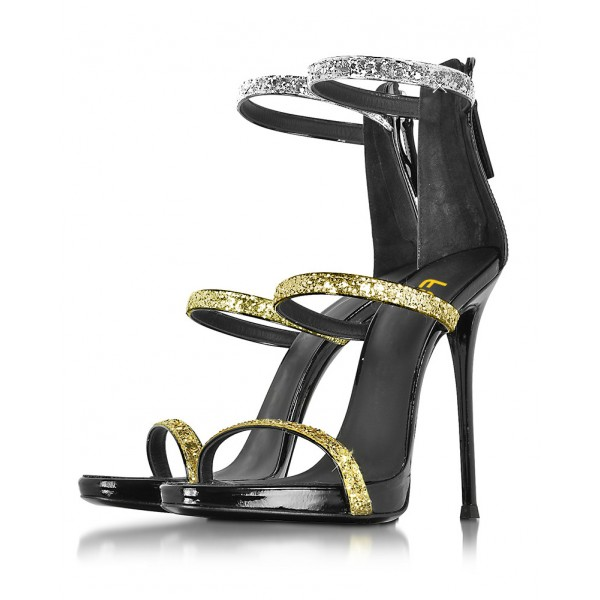 Women's Golden and Silver Glitter Stiletto Heel Gladiator Sandals image 1