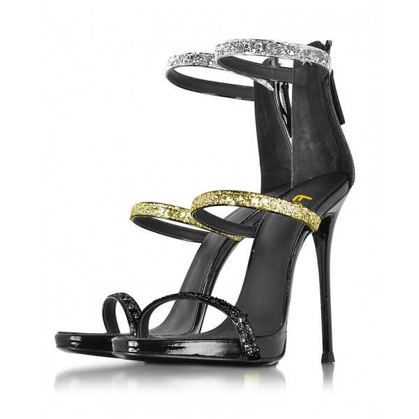 Tri Strap Colors Glitter Stiletto Heels Gladiator Sandals image 1