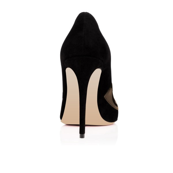 Black Evening Shoes Round Toe Stiletto Heels Suede Pumps image 3