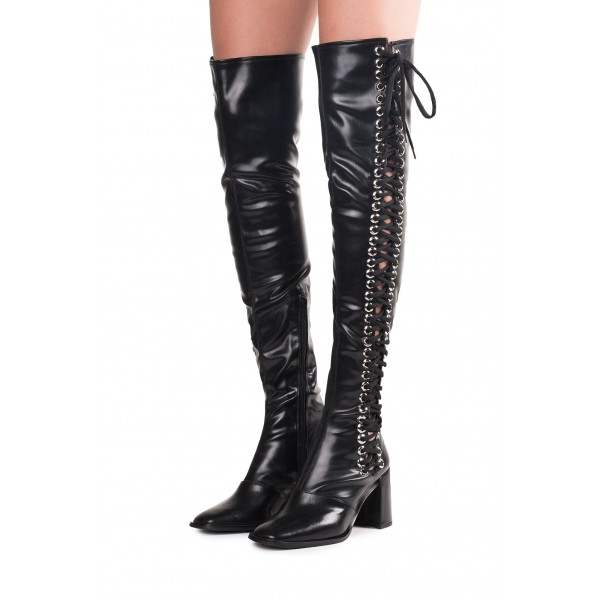 85d38bea5fbc Black Lace Up Boots Slouch Chunky Heel Thigh High Boots for Work ...