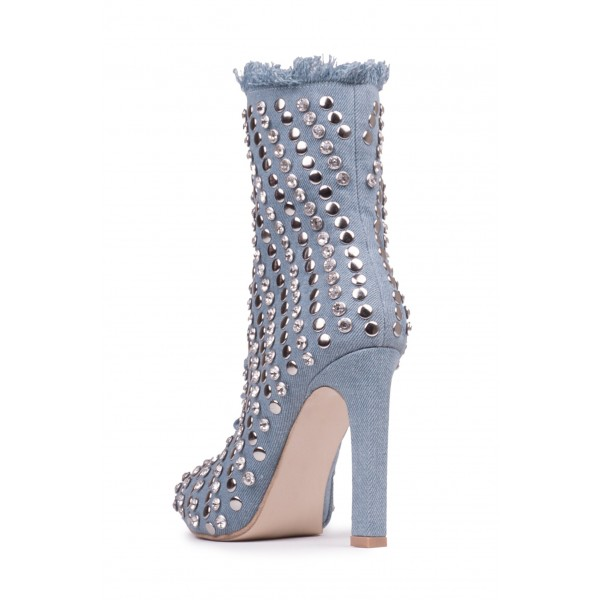 Denim Studded Stiletto Boots Pointy Toe Ankle Boots  image 2