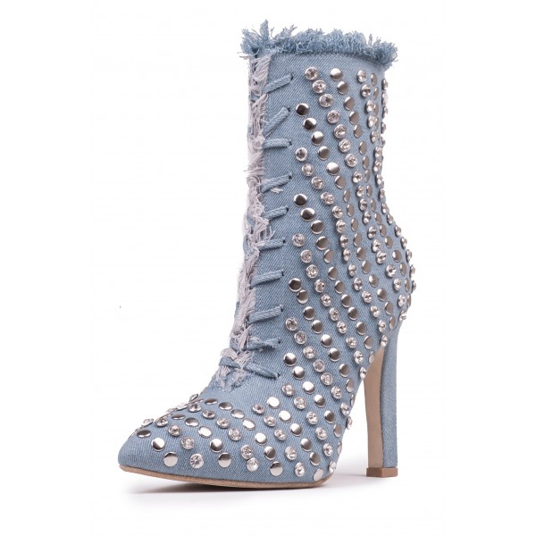 Denim Studded Stiletto Boots Pointy Toe Ankle Boots  image 1
