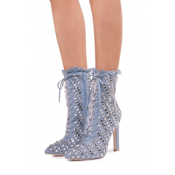 Denim Studded Stiletto Boots Pointy Toe Ankle Boots  image 3