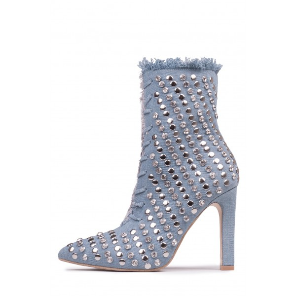 Denim Studded Stiletto Boots Pointy Toe Ankle Boots  image 4