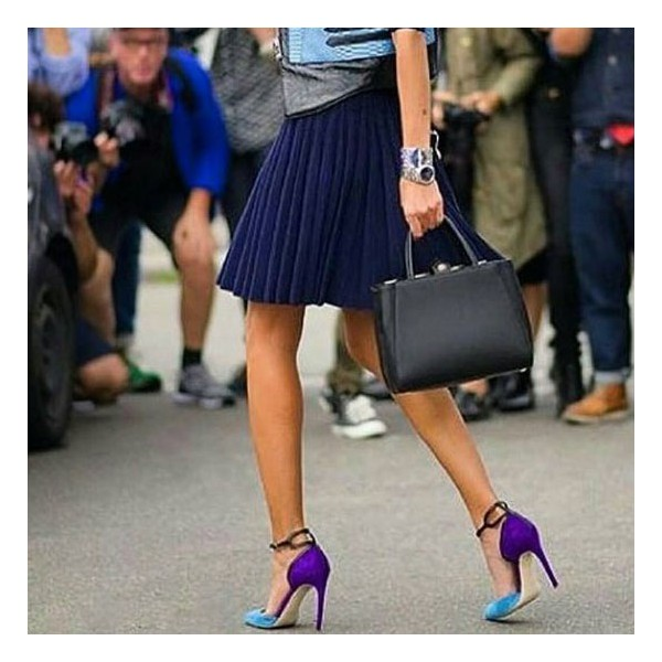 Esther Blue Ankle Strap Heels Pointy Toe D'orsay Pumps for Women image 3