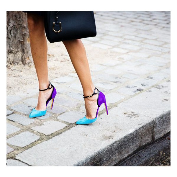 Esther Blue Ankle Strap Heels Pointy Toe D'orsay Pumps for Women image 4