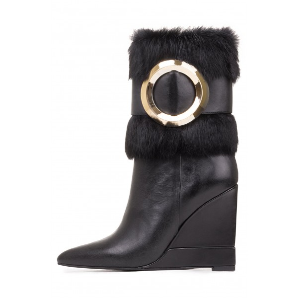 Black Wedges Winter Boots Gold Hardware Pointy Toe Fashion Fur Boots image 3