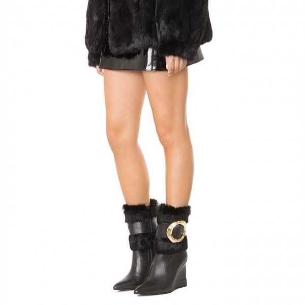 Black Wedges Winter Boots Gold Hardware Pointy Toe Fashion Fur Boots image 2