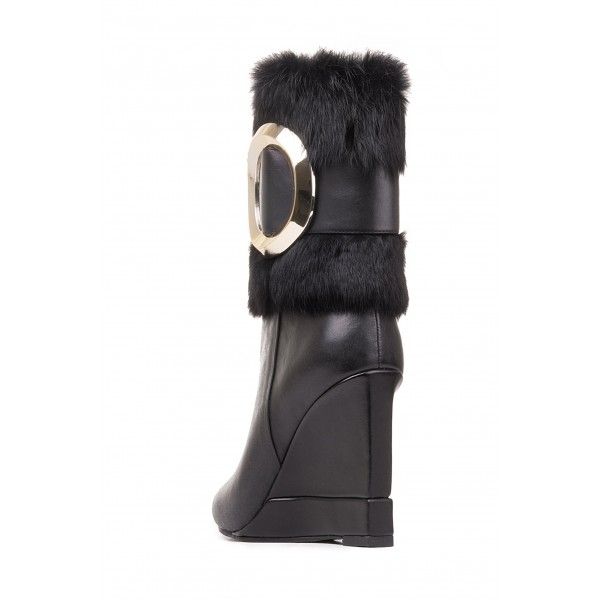 Black Wedges Winter Boots Gold Hardware Pointy Toe Fashion Fur Boots image 4
