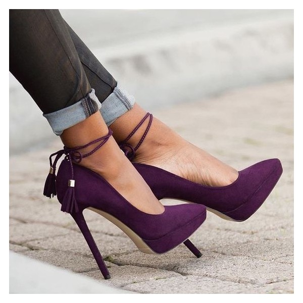 Women's Purple Stiletto Heels Pointy Toe Tassels Ankle Strap Pumps image 2