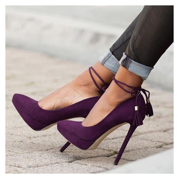 Women's Purple Stiletto Heels Pointy Toe Tassels Ankle Strap Pumps image 1