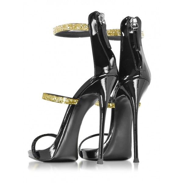 Golden and Black Glitter Stiletto Heel Gladiator Sandals image 3